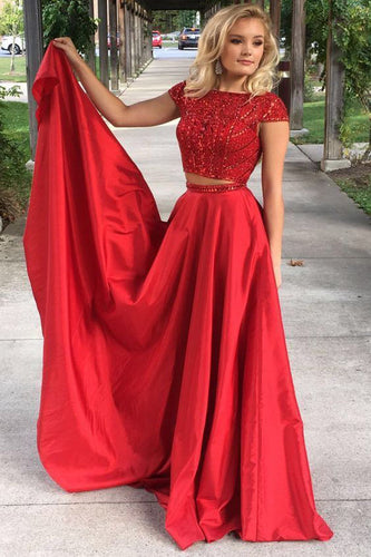 Elegant Red Two Pieces Beads Cap Sleeves Satin Evening Dresses,Prom Dresses uk PW323
