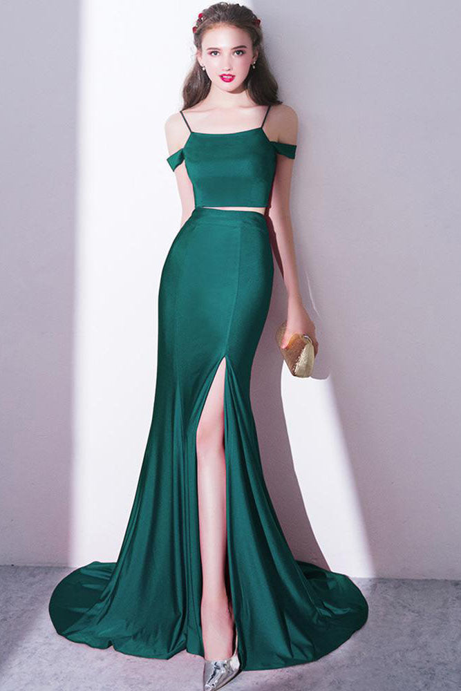 2018 Elegant Green Off Shoulder Two-Piece Slit Mermaid Bateau Prom Dresses UK PH390
