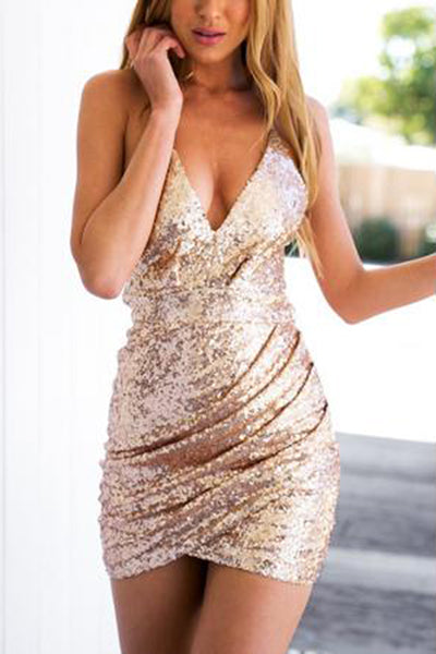 2018 Short Sequins Spaghetti Straps V Neck Mini Sexy Mermaid Homecoming Dresses PH647