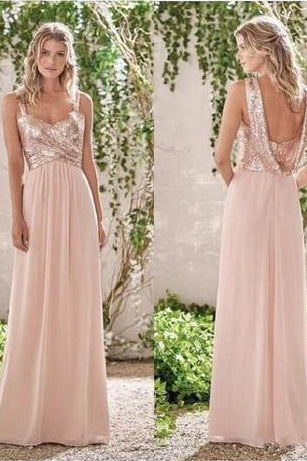 Rose Gold A-Line Spaghetti Straps Backless Sequins Chiffon Bridesmaid Dress PM531