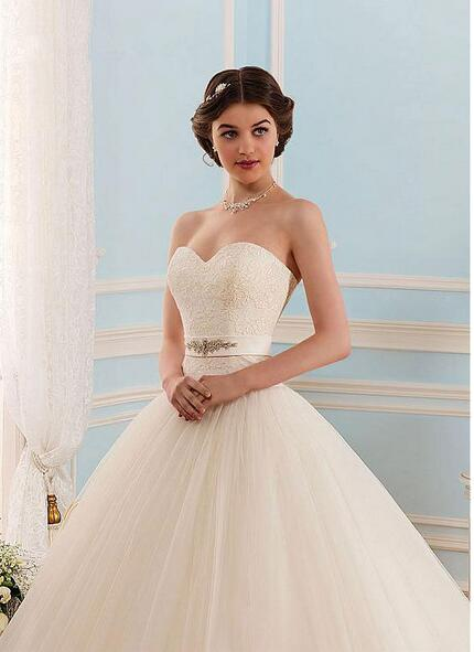 2017 White Tulle Sweetheart Strapless Open Back Ball Gown Sleeveless Floor-Length Wedding Dress PM753