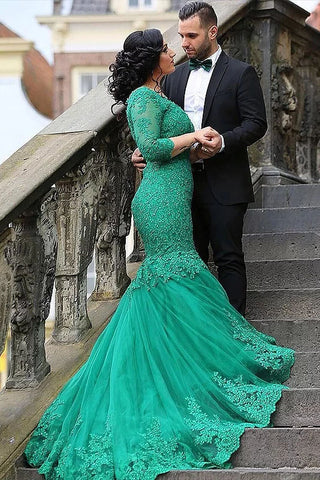 Sexy Green Mermaid V Neck Tulle Applique 3/4 Sleeves Sweep Train Plus Size Prom Dresses uk PW163