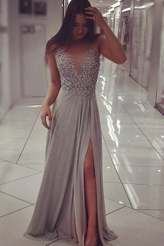 Elegant A Line Sexy Long Grey Chiffon Sparkly Beaded Sleeveless Prom Dresses with Slit PH614