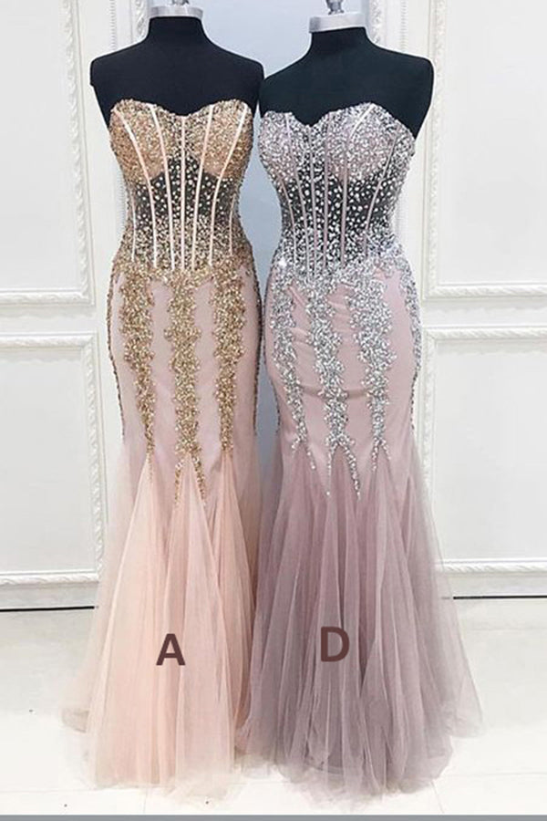 Mermaid Sexy Long Cheap Sweetheart Strapless Beads Tulle See Through Prom Dresses uk PH173