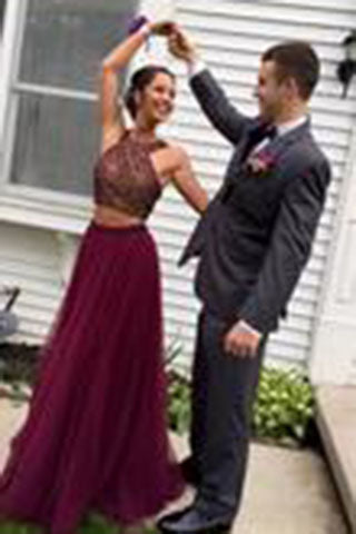Stylish Burgundy Two Pieces A-line Beading Long Wedding Party Gown,Cocktail Formal Wear pst1405