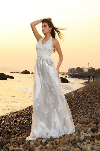 Princess A-Line Halter Belt Sleeveless Long Lace Sweetheart Beach Wedding Dresses PH561