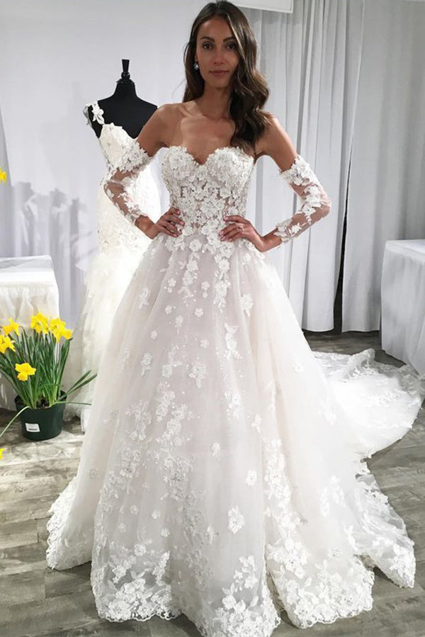 A Line Long Sleeves Ivory Lace Appliques Beads Sweetheart Wedding