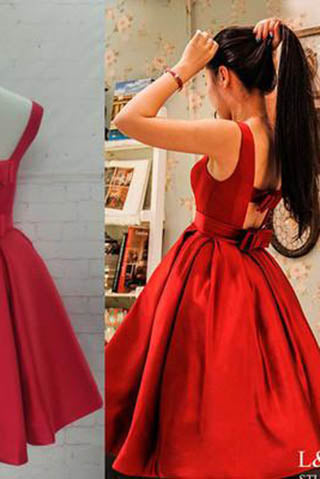 Red Homecoming Dresses,Satin Homecoming Dress,Party Dress,Prom Gown, Sweet 16 Dress PM890