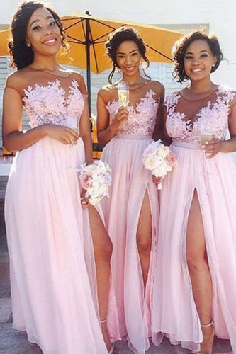 A-Line Pink Princess High Slit Scoop Sleeveless Lace Applique Chiffon Bridesmaid Dresses PH509