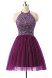 Short Prom Dresses,Tulle Prom Gown,Purple Homecoming Dress,Sexy Prom Dress PM394