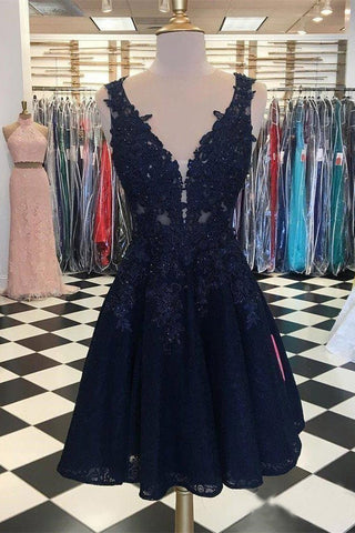 Dark Navy Lace Homecoming Dresses V Neck Appliqued Cheap Short Prom Dresses PW948