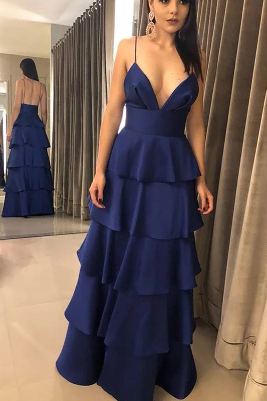Dark Royal Blue Spaghetti Straps Tiered High Waist Prom Dresses V Neck Backless Party Dresses P1083