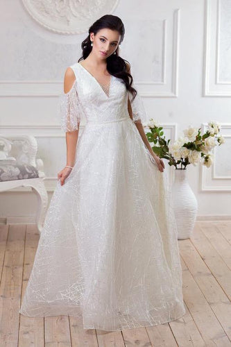 Deep V Neck Drop Sleeves Lace Wedding Dresses White Long Wedding Gowns PW505