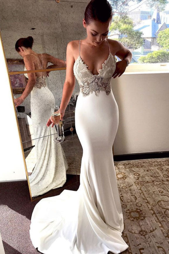 Deep V Neck Spaghetti Straps Ivory Lace Backless Mermaid Prom Dress, Wedding Dresses H1137
