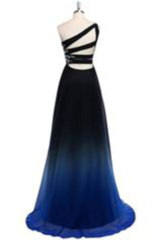 Dreamy A-line One Shoulder Sweep Train Chiffon Prom/Evening Dresses uk With Beads PM854