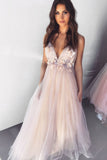 Dreamy V Neck Pearl Pink Tulle Floor Length Prom Evening Dress with Appliques P1095