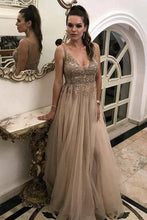 A Line V Neck Tulle Lace Appliques Backless Brown Sleeveless Prom Dresses uk PW83
