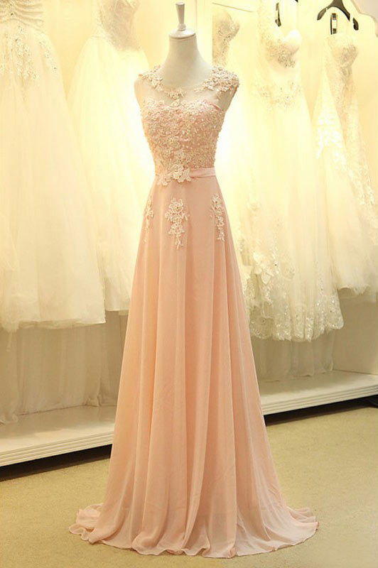 Gorgeous A-line Chiffon Floor-Length Appliques Long Evening Dress Prom Party Dresses