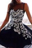 Top Selling Gorgeous Beading Knee Length Short Party Dresses Homecoming Dresses PM559