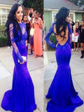 Sexy Mermaid High Neck Royal Blue Long Sleeve Open Back Lace Prom Dresses uk PH09