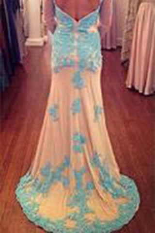 Long Sleeves Lace Sheath Long Prom Dresses Mother of Bride Dresses PM558