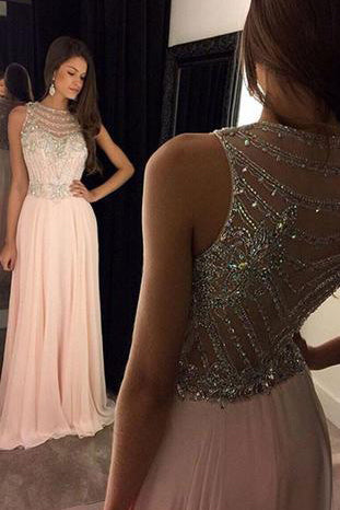 Elegant Long Light Pink Chiffon Evening Dress with Beading Bodice Prom Dresses uk PM583