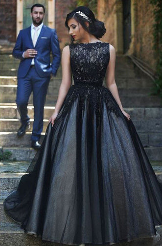 Elegant Round Neck Black Lace Long Prom Ball Gown Evening Dresses PH430