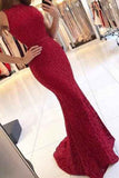 Charming New Arrival Mermaid Round Neck Dark Red Lace Prom Dresses UK PH385