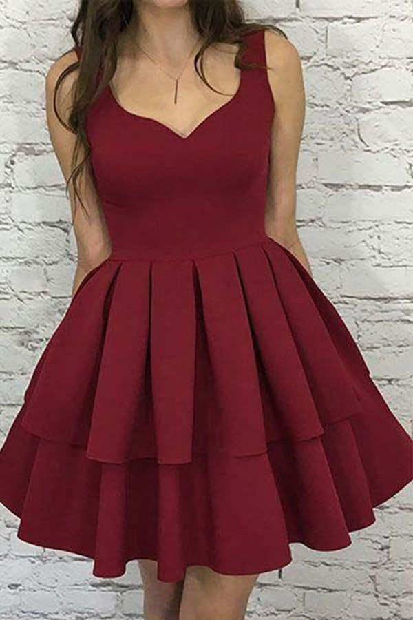 A Line V Neck Burgundy Short Open Back Prom Dress,Sleeveless Homecoming Dresses UK PH755