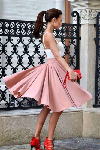 A Line Spaghetti Straps Sweetheart Blush Pink with Pleats Short Homecoming Dresses uk PW06