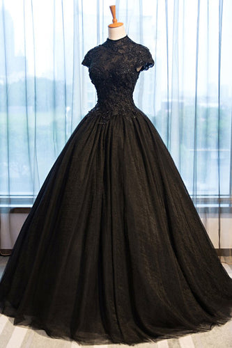 Black Tulle Cap Sleeve Long High Neck Beads Ball Gown Open Back Prom Dresses uk PW103