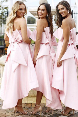 A Line Unique Strapless High Low Pink Satin Bridesmaid Dresses with Bowknot PW14