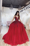 Burgundy Ball Gown V neck Spaghetti Straps Tulle Prom Dresses with Appliques P1304