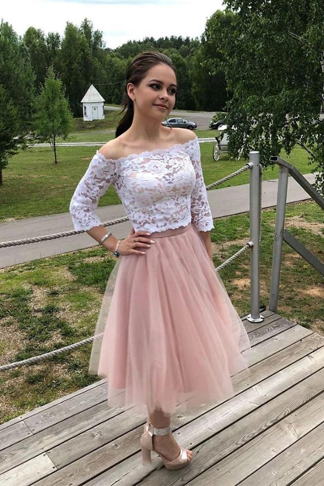 Elegant 34 Sleeves Lace Off the Shoulder Short Tulle Prom Dresses Two Piece Hoco Dress H1203