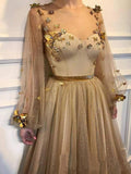Elegant 3D Flowers Long Sleeve Prom Dresses Golden Rhinestone Evening Dresses P1158