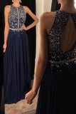 Elegant Chiffon Prom Dresses Navy Blue Long Evening Gowns with Beading Prom Gown PH128