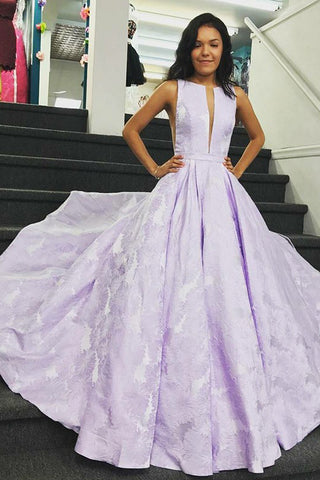 Elegant A-Line Bateau Sleeveless Lilac Floral Satin Prom Dress, Long Party Dresses PW758