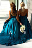 Elegant A Line Mermaid Deep V Neck Long Blue Backless Bridesmaid Dresses uk PH958