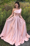 Elegant A Line One Shoulder Long Cheap Pink Prom Dresses Simple Prom Dresses with Pockets P1115