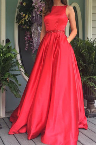 Elegant A Line Red Long Prom Dress Evening Dress with Open Back Pockets PW361