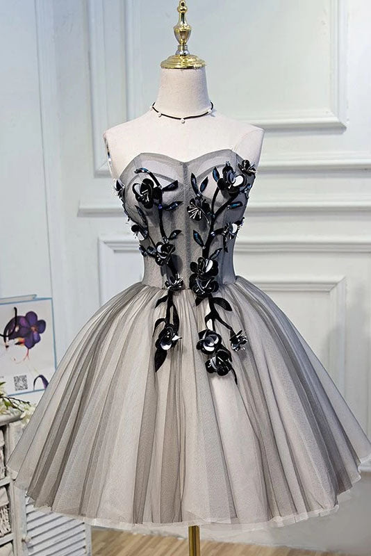 Elegant A Line Strapless Tulle Homecoming Dresses with Lace up Black Short Prom Dresses H1333