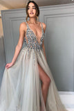 Elegant A Line Tulle Beads Deep V Neck Prom Dresses High Slit Ivory Evening Dresses PW562