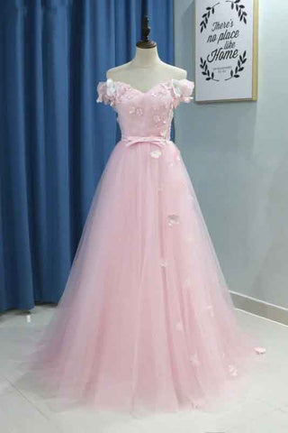 Elegant A line Pink Tulle Prom Dresses with Flowers Off the Shoulder Belt Evening Dress PW749