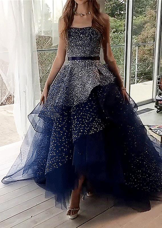 Elegant Ball Gown Navy Blue Strapless Prom Dresses Long Cheap Formal Dresses P1111