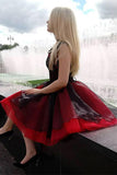 Elegant Cap Sleeve Tulle Black and Red V Neck Homecoming Dresses with Lace up H1253