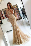 Elegant Half Sleeve Lace Mermaid Backless Prom Dresses, Long Cheap Evening Dresses P1080