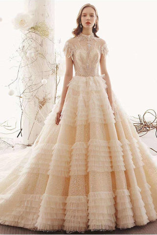 Elegant High Neck Ball Gown Wedding Dresses, Short Sleeve Quinceanera Dresses PW773