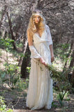 Elegant Ivory Bohemian Lace Wedding Dresses V Neck Backless Country Wedding Dress W1072