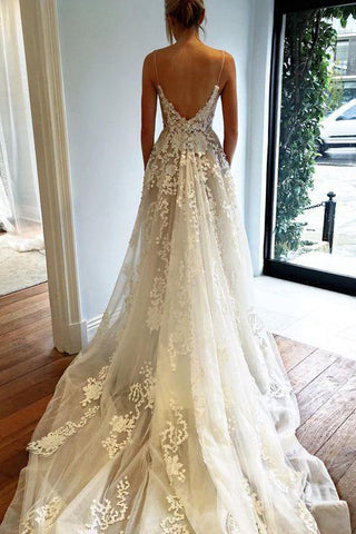 Elegant Ivory Spaghetti Straps Tulle Lace V Neck Wedding Dresses With Pockets PW718