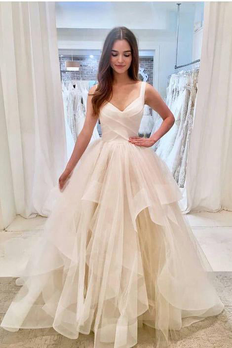 Elegant Ivory Tulle V Neck Spaghetti Straps Wedding Dresses, Long Cheap Prom Dresses P1024